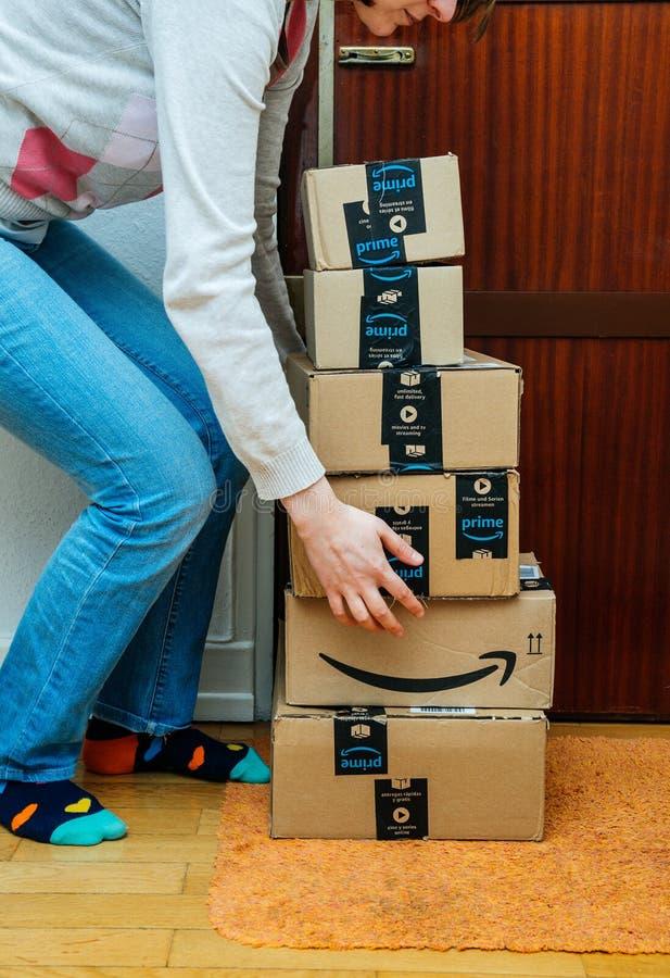 Cajas de la mujer y de cartón del Amazonas del múltiplo imagen de archivo libre de regalías
