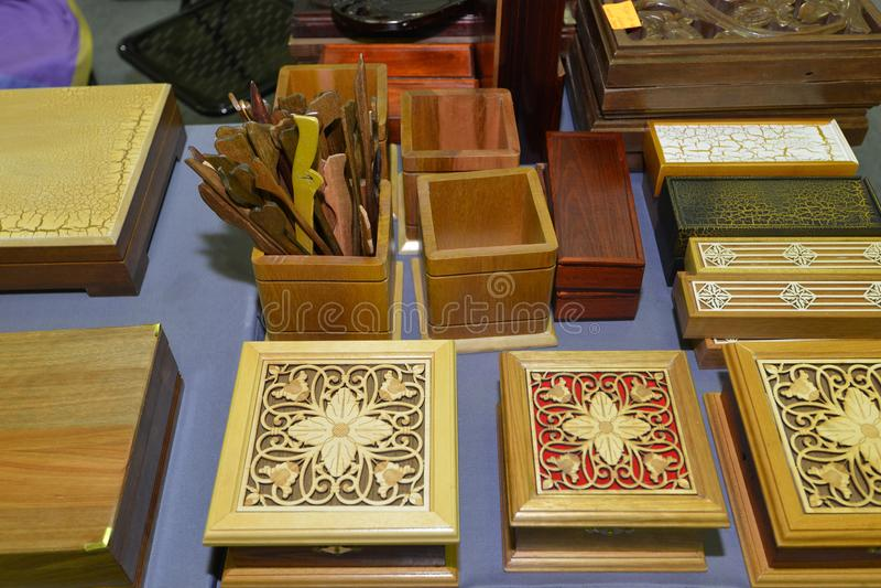 Cajas de madera Handcrafted foto de archivo libre de regalías