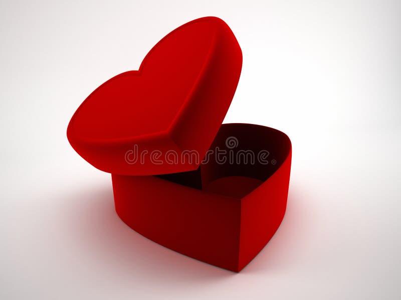 Cajas de regalo abiertas del corazón con la cinta y el arco Ame, el día de tarjeta del día de San Valentín, una caja de chocolate ilustración del vector