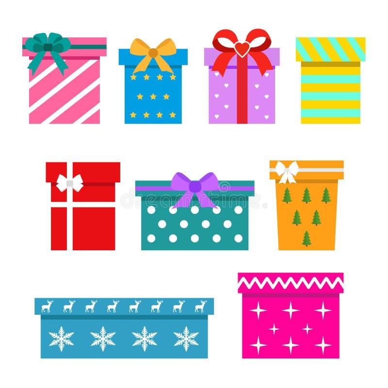 Cajas de regalo aisladas en el fondo blanco Colorido envuelto Venta, concepto que hace compras stock de ilustración