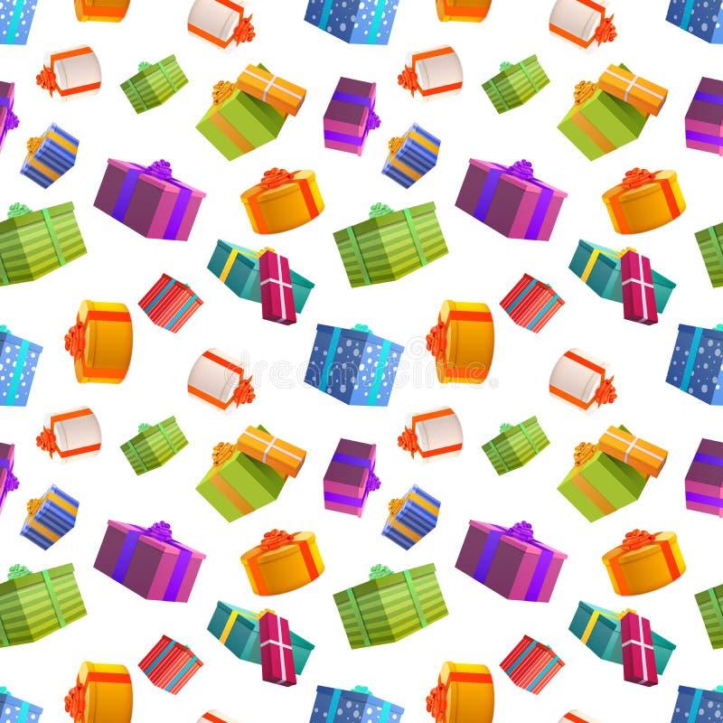 Cajas de regalo coloridas brillantes en el fondo blanco, modelo inconsútil de muchos presentes stock de ilustración