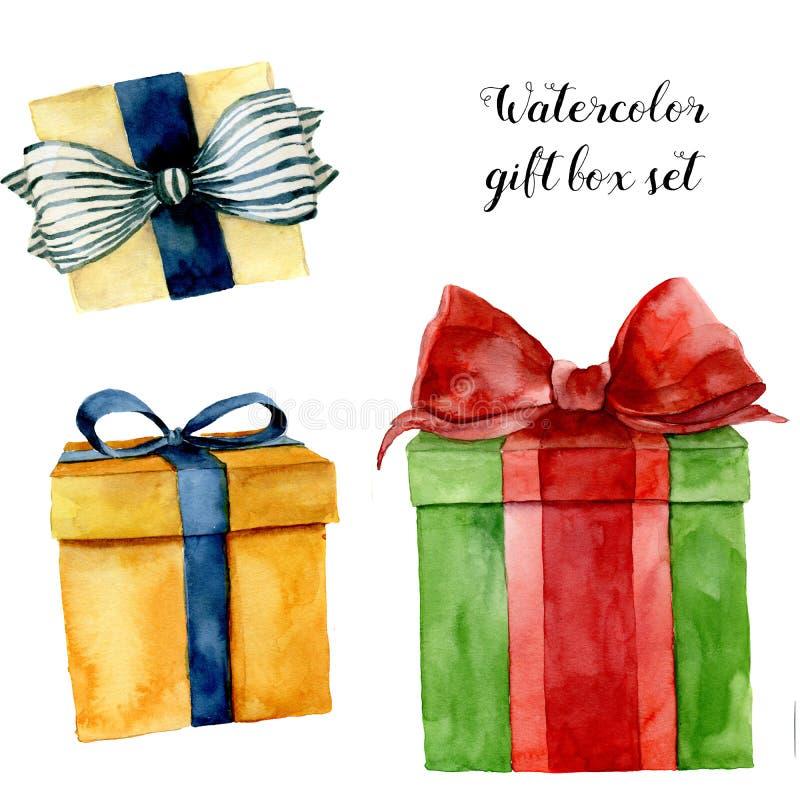 Cajas de regalo de la acuarela fijadas Caja pintada a mano con el arco aislado en el fondo blanco Colección del saludo para el di libre illustration