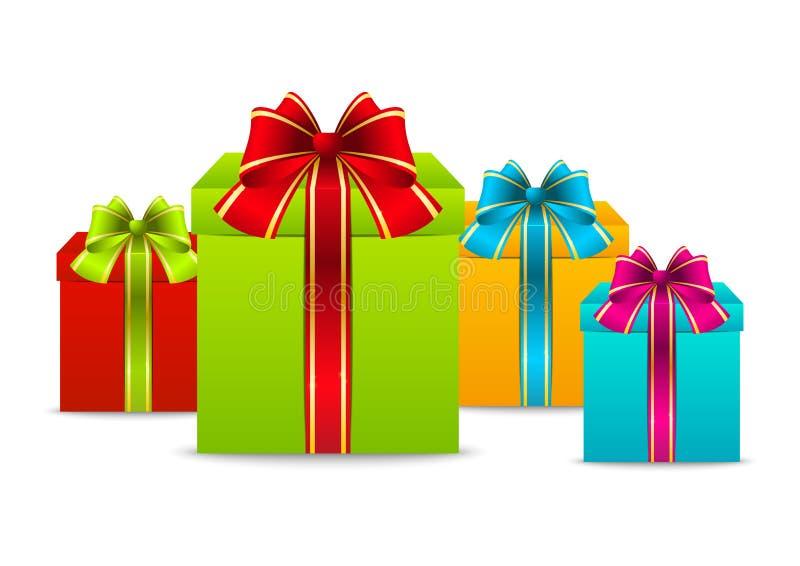 Cajas de regalo del color stock de ilustración