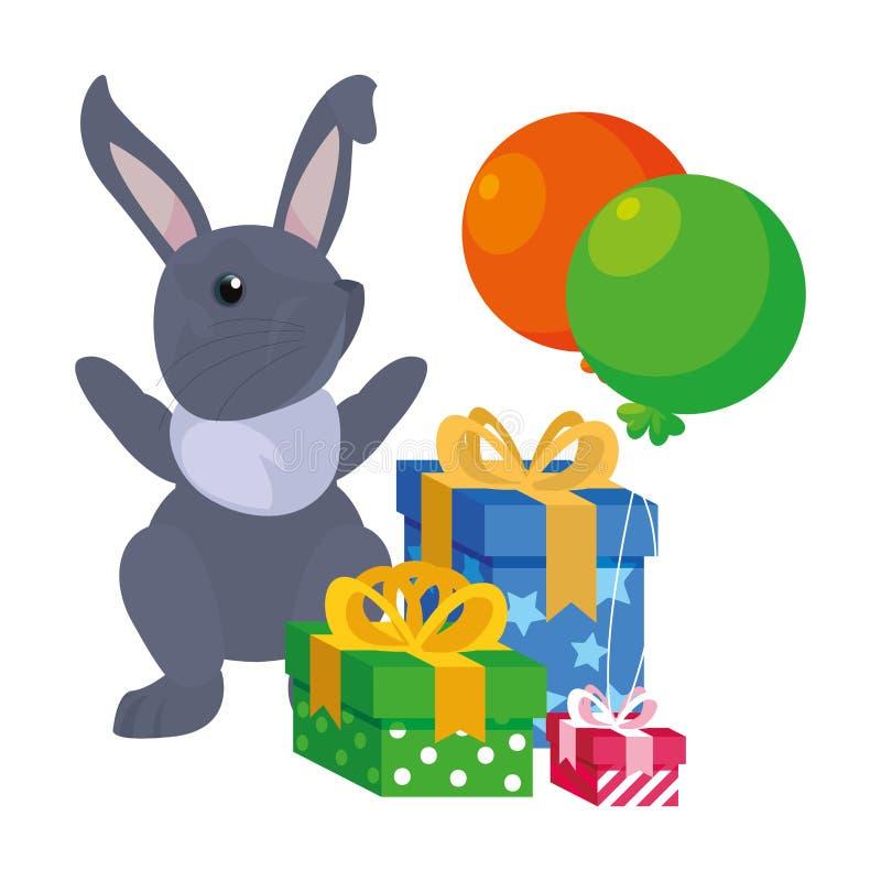 Cajas de regalo del conejito pascua feliz libre illustration