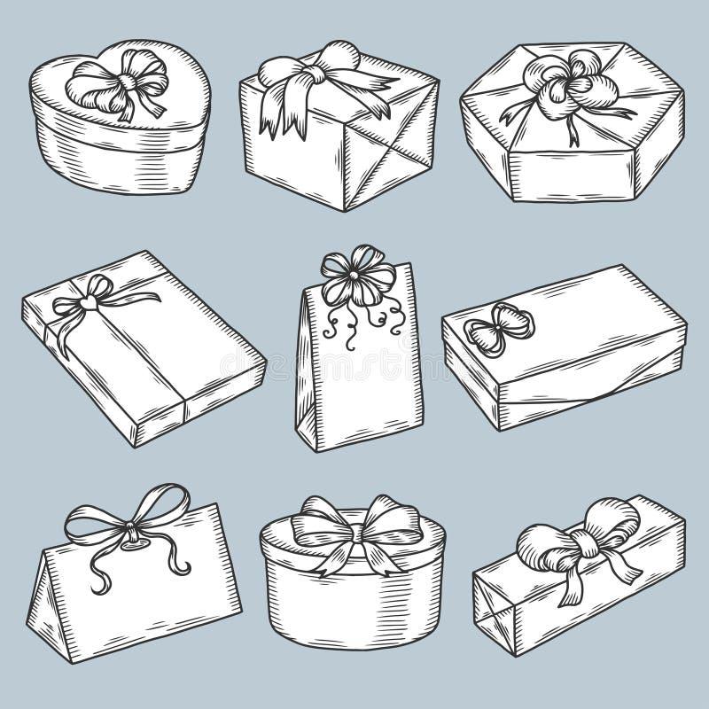 Cajas de regalo dibujadas mano fijadas Vector del vintage ilustración del vector