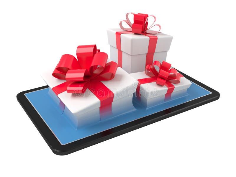 Cajas de regalo en una PC de la tableta libre illustration