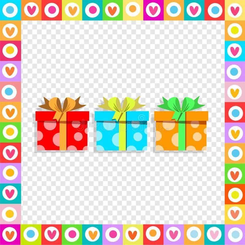 Cajas de regalo envueltas coloridas festivas lindas dentro de bastidor del corazón en fondo transparente ilustración del vector