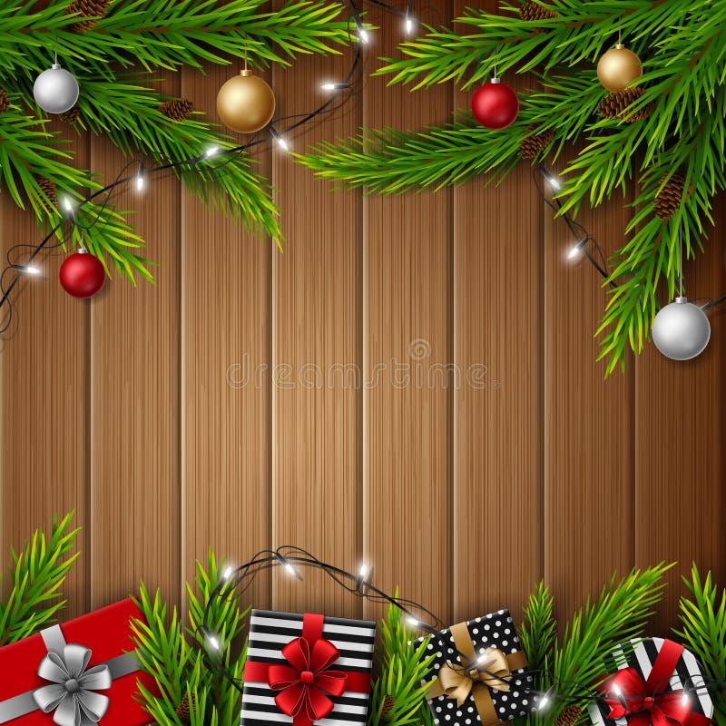 Cajas de regalo de la Navidad con las bolas de la Navidad y ramas del abeto en fondo de madera brillante libre illustration