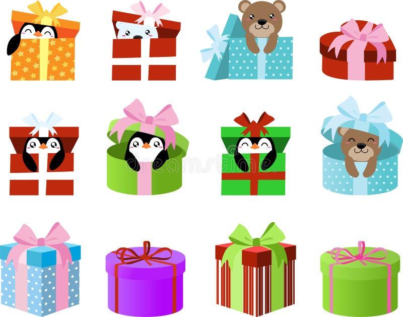 Cajas de regalo lindas Clipart con los pingüinos y los osos dentro Gráficos de vector del EPS grandes para las etiquetas engomada stock de ilustración