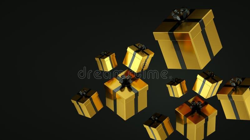 Cajas de regalo negras con la cinta del oro en fondo negro representaci?n 3d fotografía de archivo