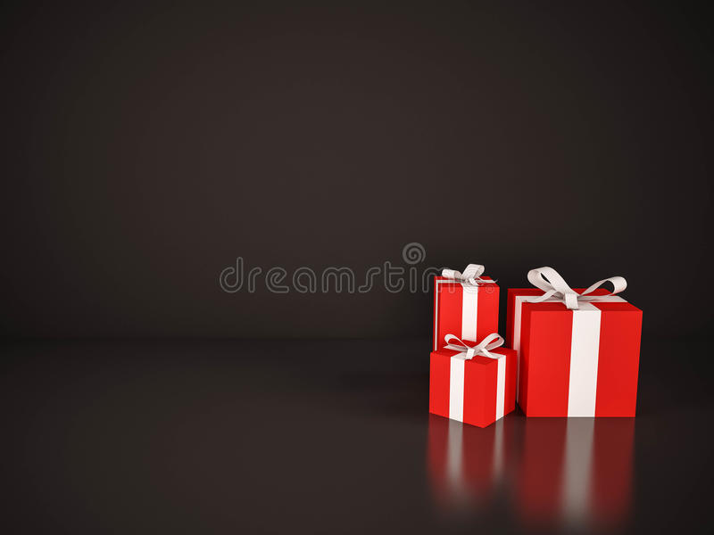 Cajas de regalo rojas con la cinta blanca en fondo negro libre illustration
