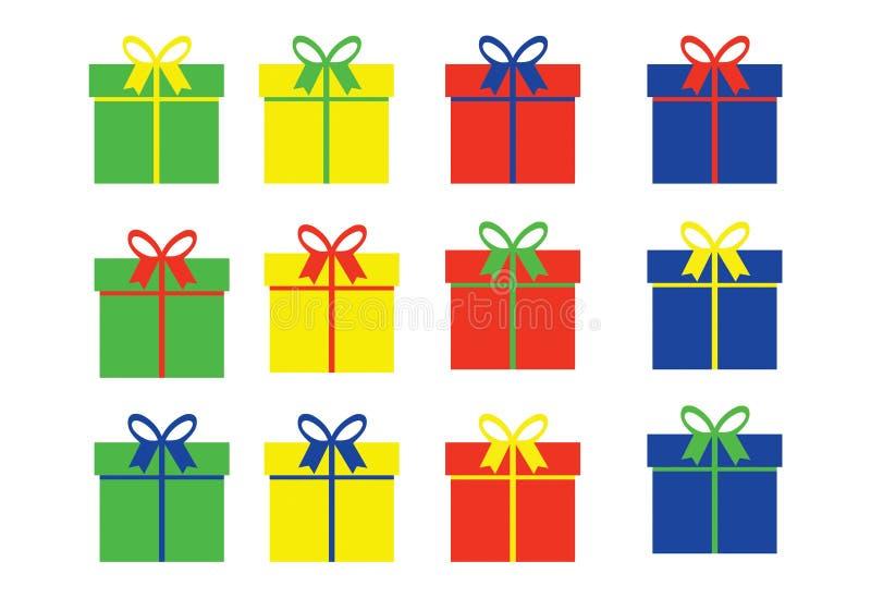 Cajas de regalo simples en cuatro variaciones del color fotos de archivo libres de regalías