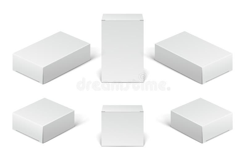 Cajas del paquete de la cartulina del Libro Blanco Sistema de cajas en blanco del cosmético, médicos y electrónicos de los dispos stock de ilustración