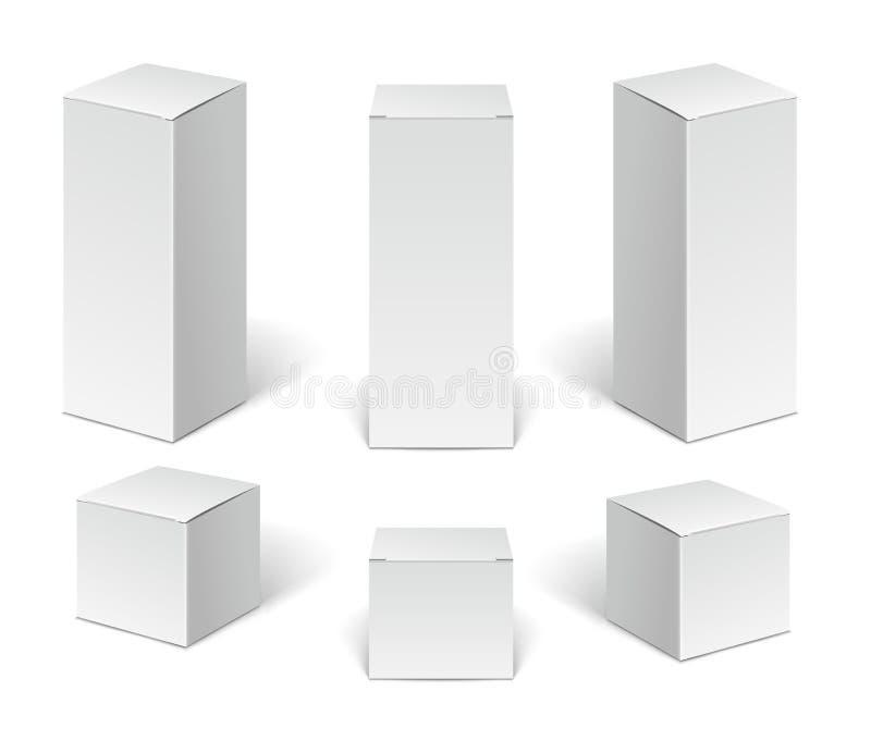 Cajas del paquete de la cartulina del Libro Blanco Sistema de cajas verticales en blanco del cosmético, médicos y electrónicos de stock de ilustración