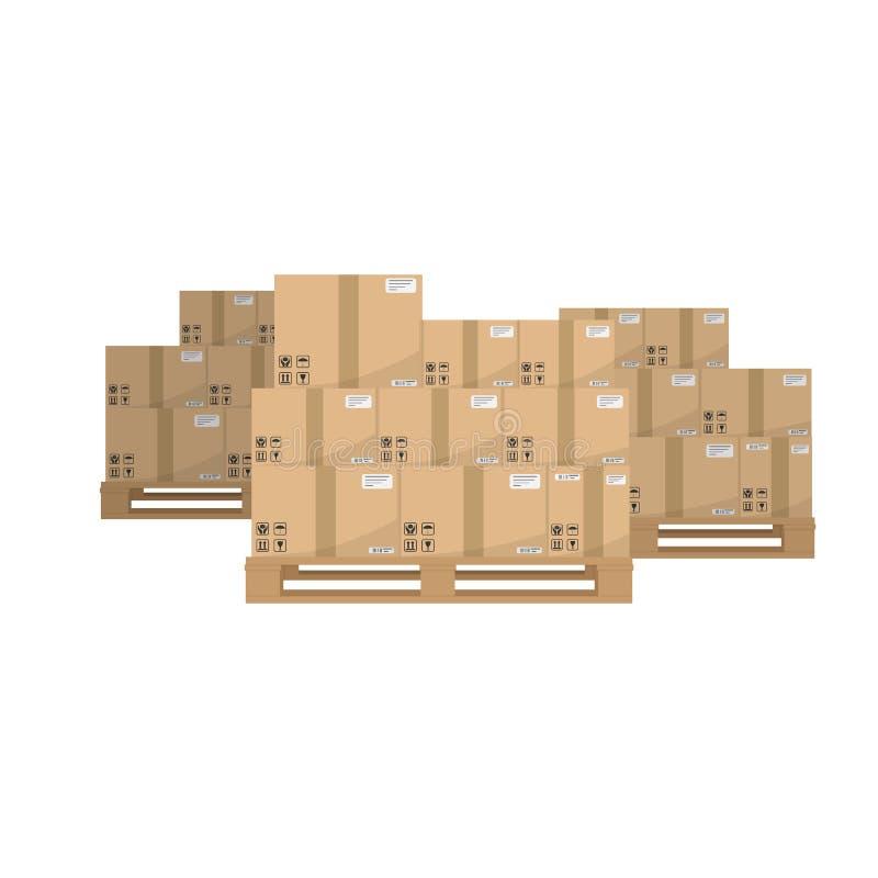 Cajas en la plataforma enselvada Brown cerró las cajas de empaquetado de la entrega del cartón con las muestras frágiles en la pl ilustración del vector