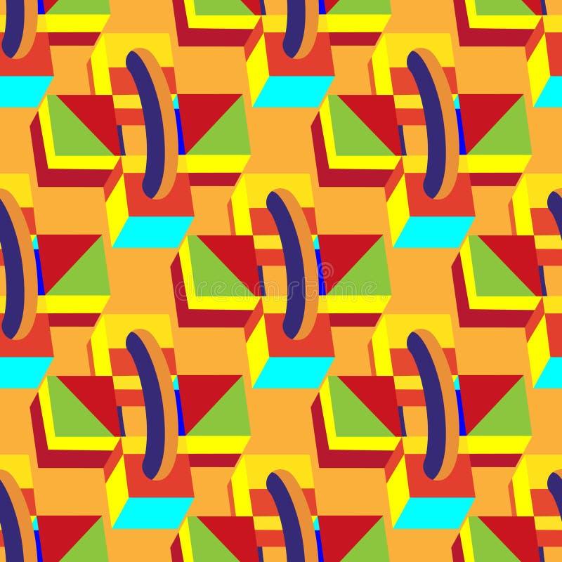 Cajas inconsútiles decorativas multicoloras, cubos en fondo anaranjado Ejemplo abstracto del vector 3d libre illustration