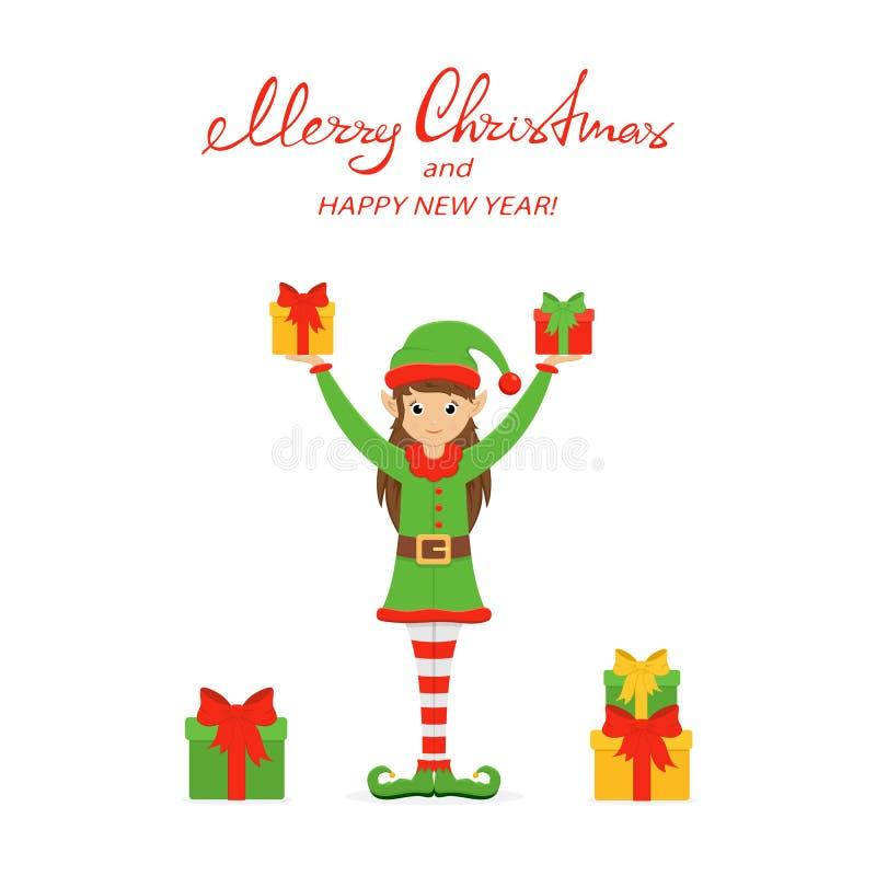 Cajas lindas felices del duende y de regalo en un fondo de la Navidad blanca ilustración del vector