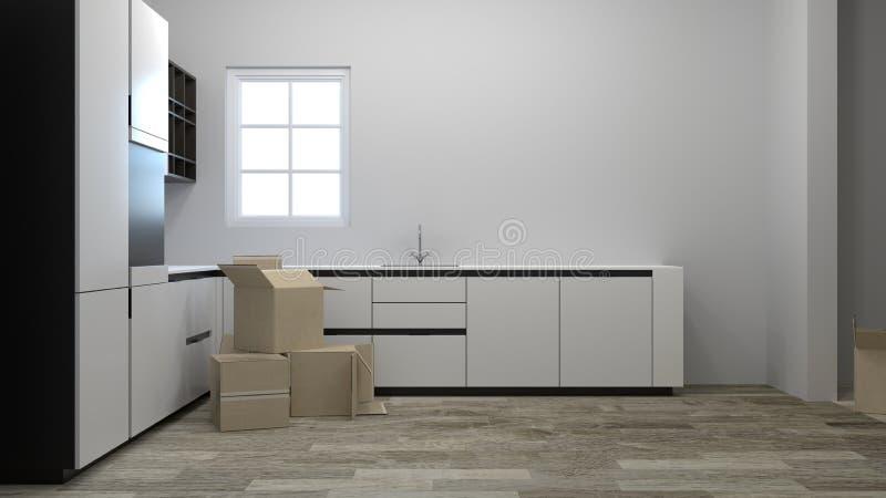 Cajas móviles del embalaje y del desempaque en los nuevos interiores de los hogares de hogares efectuados, incluyendo cocinas, si libre illustration