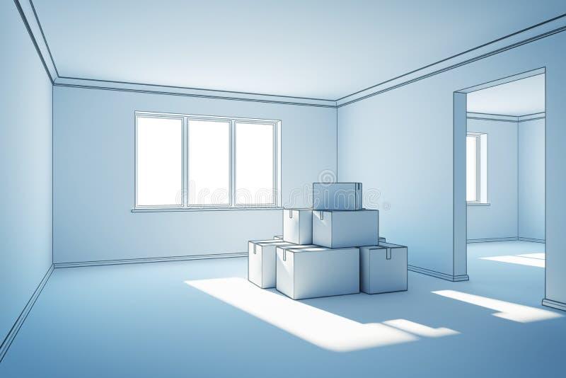 Cajas móviles en un nuevo hogar ilustración del vector