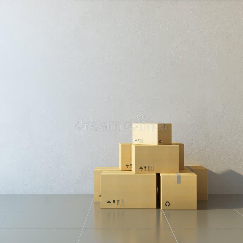 Cajas móviles en un nuevo hogar imagenes de archivo