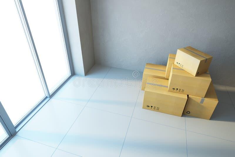 Cajas móviles en una nueva oficina foto de archivo