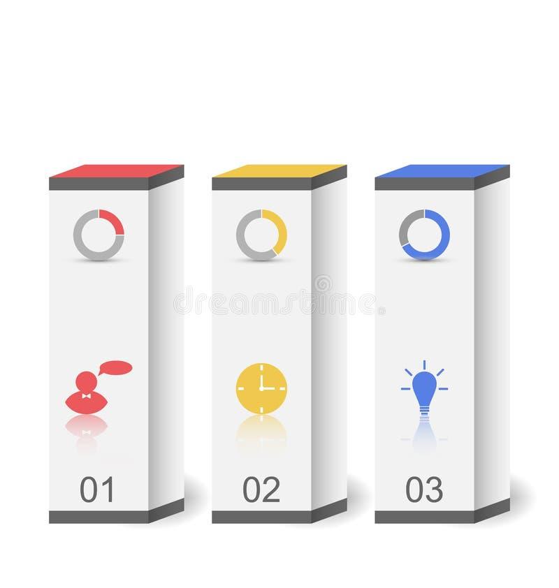 Cajas modernas en el estilo mínimo para la plantilla infographic del diseño o stock de ilustración