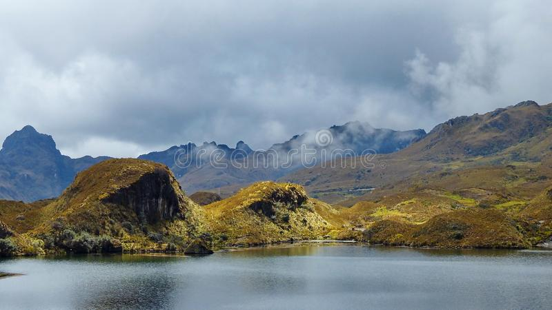 Cajas National Park, Toreadora lake in cloudy day royalty free stock images