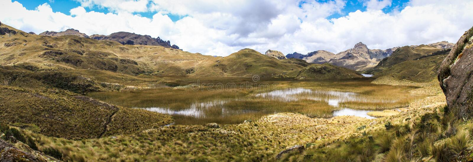 Cajas National Park Panorama, West of Cuenca, Ecuador. Cajas National Park is a high-altitude area west of Cuenca, Ecuador. It's known for trails through stock photography