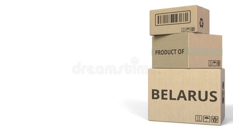 Cajas que caen con el PRODUCTO del texto de BIELORRUSIA Representación conceptual 3d stock de ilustración