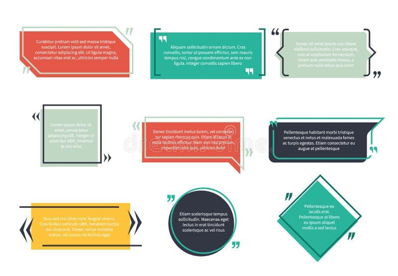 Cajas que mandan un SMS La nota del texto de la plantilla de la burbuja del discurso de la caja de la cita de la tipografía de la stock de ilustración