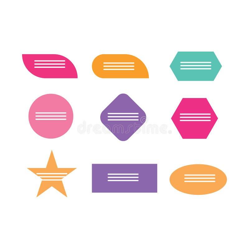 Cajas que mandan un SMS Nota coloreada del texto de la plantilla de la burbuja del discurso de la caja de la cita stock de ilustración