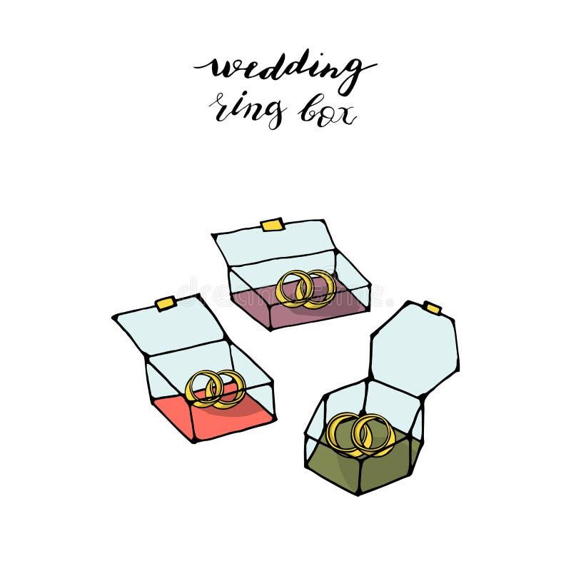 3 cajas que se casan geométricas de moda modernas del estilo exhausto del garabato de la mano con los anillos de bodas libre illustration