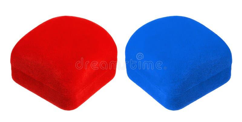 Cajas rojas y azules cerradas del terciopelo foto de archivo libre de regalías