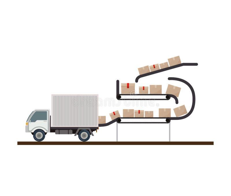 Cajas selladas almacenadas de la banda transportadora ilustración del vector
