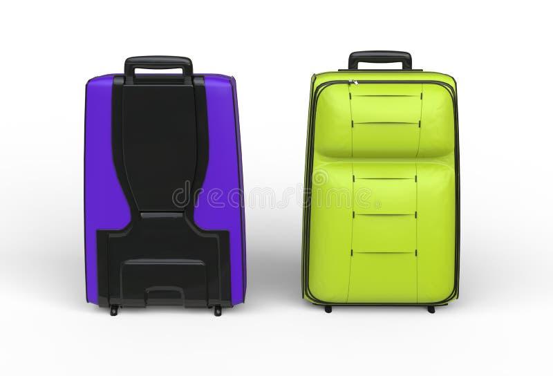 Cajas verdes y púrpuras del equipaje del viaje en el fondo blanco imagen de archivo