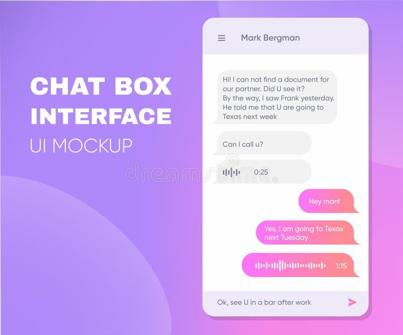 Cajas vivas de la charla del teléfono móvil Smartphone app en línea Uso de moda de Chatbot con la ventana del diálogo Mensajero d ilustración del vector