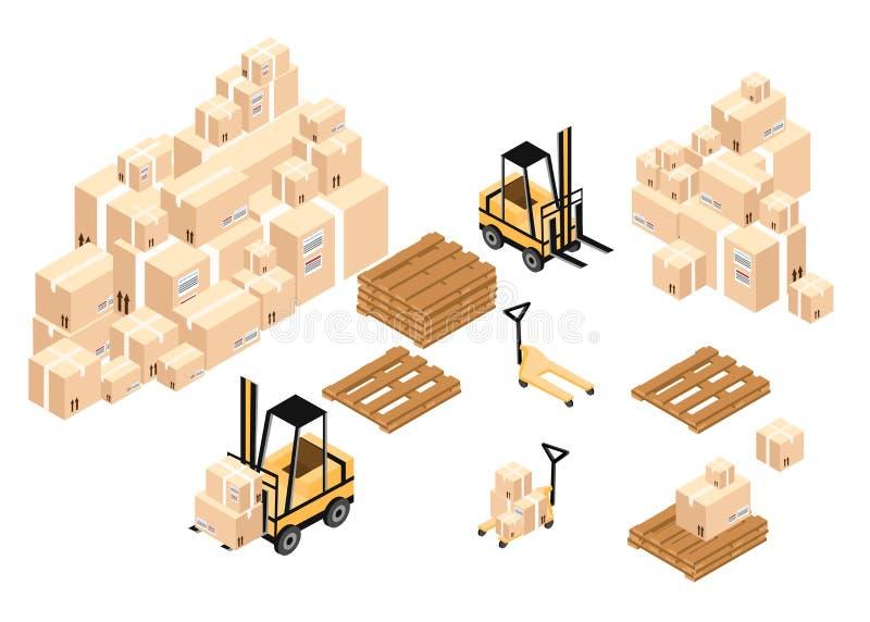 Cajas y barriles isométricos de la carga de Warehouse a las pilas usando las carretillas elevadoras libre illustration