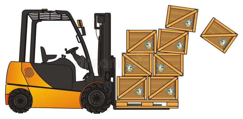 Cajas y carretilla elevadora de la migaja stock de ilustración