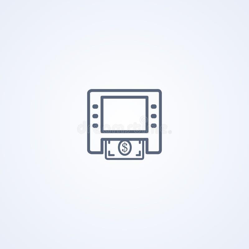 cajero automático, actividades bancarias, la mejor línea gris icono del vector ilustración del vector