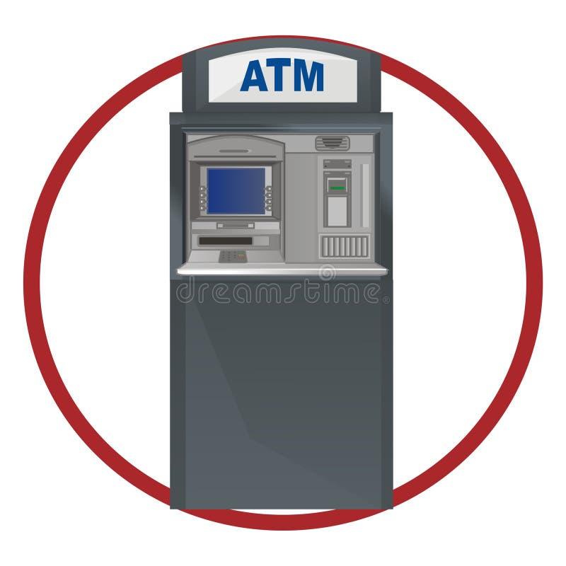 cajero automático en muestra roja libre illustration