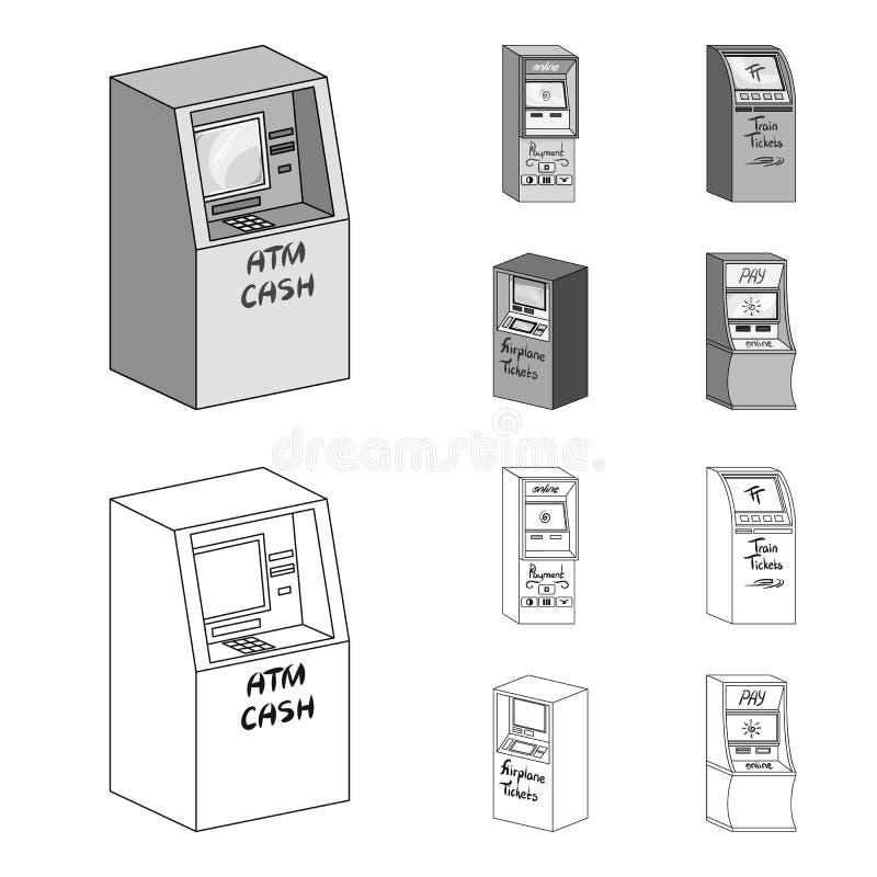 Cajero automático para el efectivo, terminal para el pago, máquina del boleto Iconos de la colección del sistema de terminales en ilustración del vector