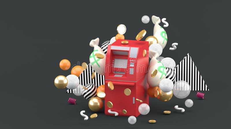 cajero automático rojo entre el dinero y bolas coloridas en el fondo gris ilustración del vector