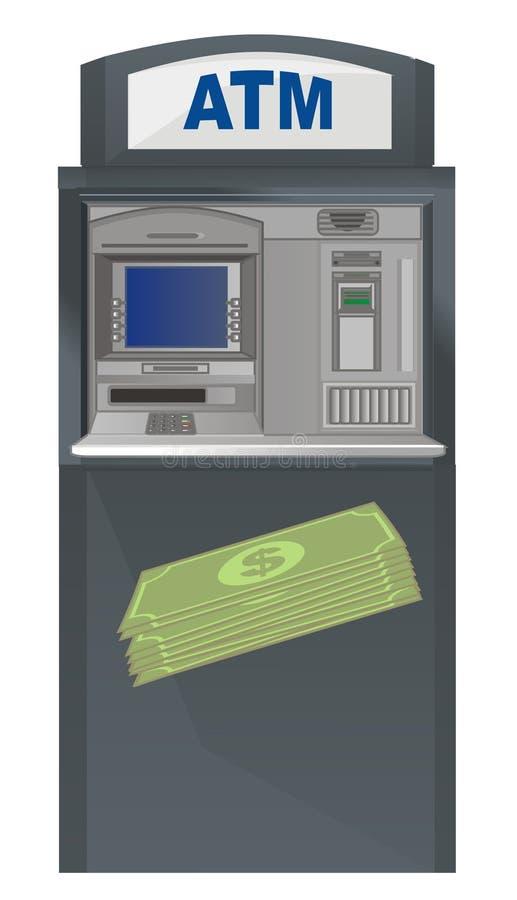 cajero automático y dinero verde libre illustration