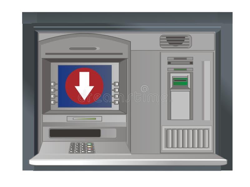cajero automático y flecha abajo ilustración del vector