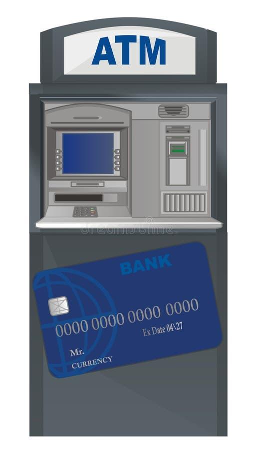 cajero automático y tarjeta de banco libre illustration