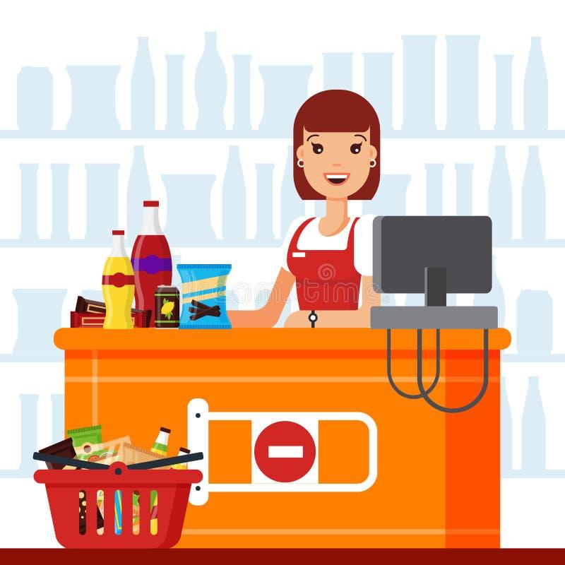 Cajero de la mujer en supermercado con los productos del bocado Vendedor en el contador con la cesta de la comida, bocados de los libre illustration
