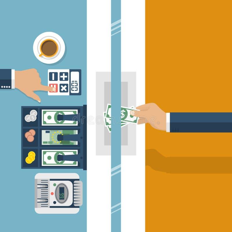Cajero en el banco Banco del trabajador, especialista financiero libre illustration