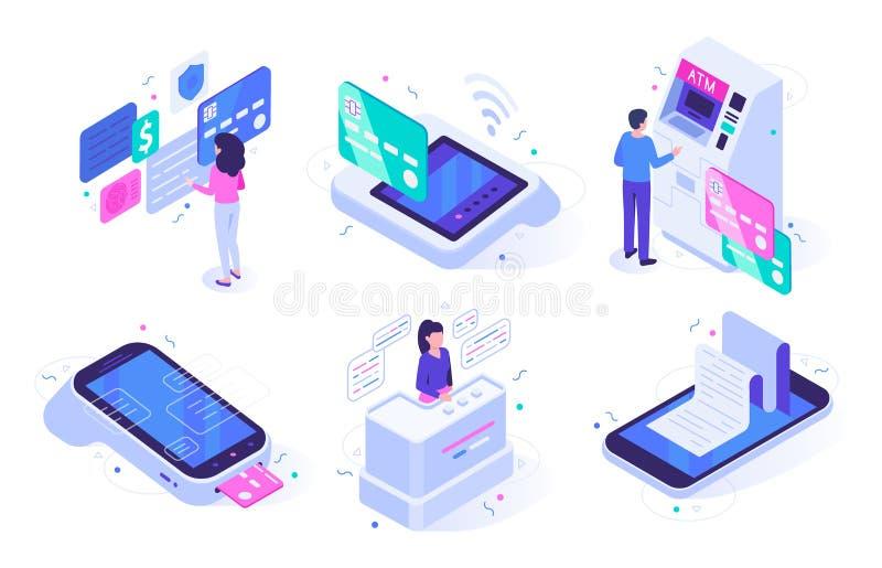 Cajero en línea isométrico Pago y envío terminal de la compra de la caja registradora, mercado de ventas con los compradores y ve stock de ilustración