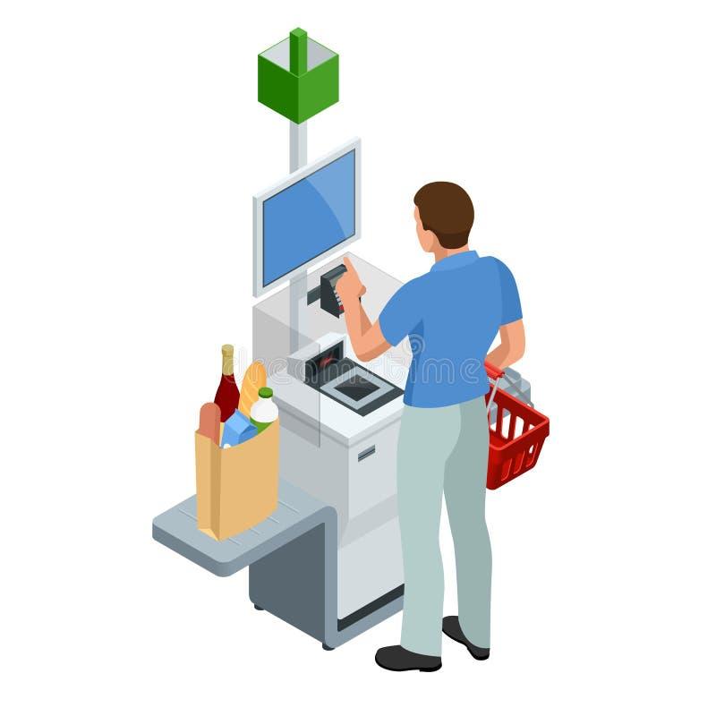 Cajero o terminal isométrico del autoservicio Hombre joven que paga en el contador del autoservicio usando la pantalla táctil stock de ilustración