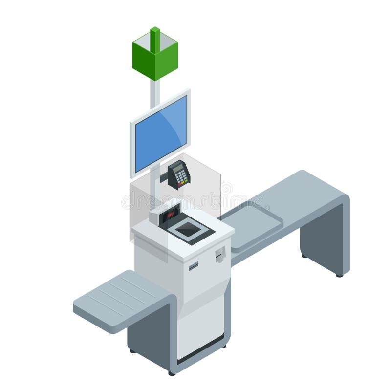 Cajero o terminal isométrico del autoservicio Punto con el pago y envío del autoservicio en el supermercado libre illustration